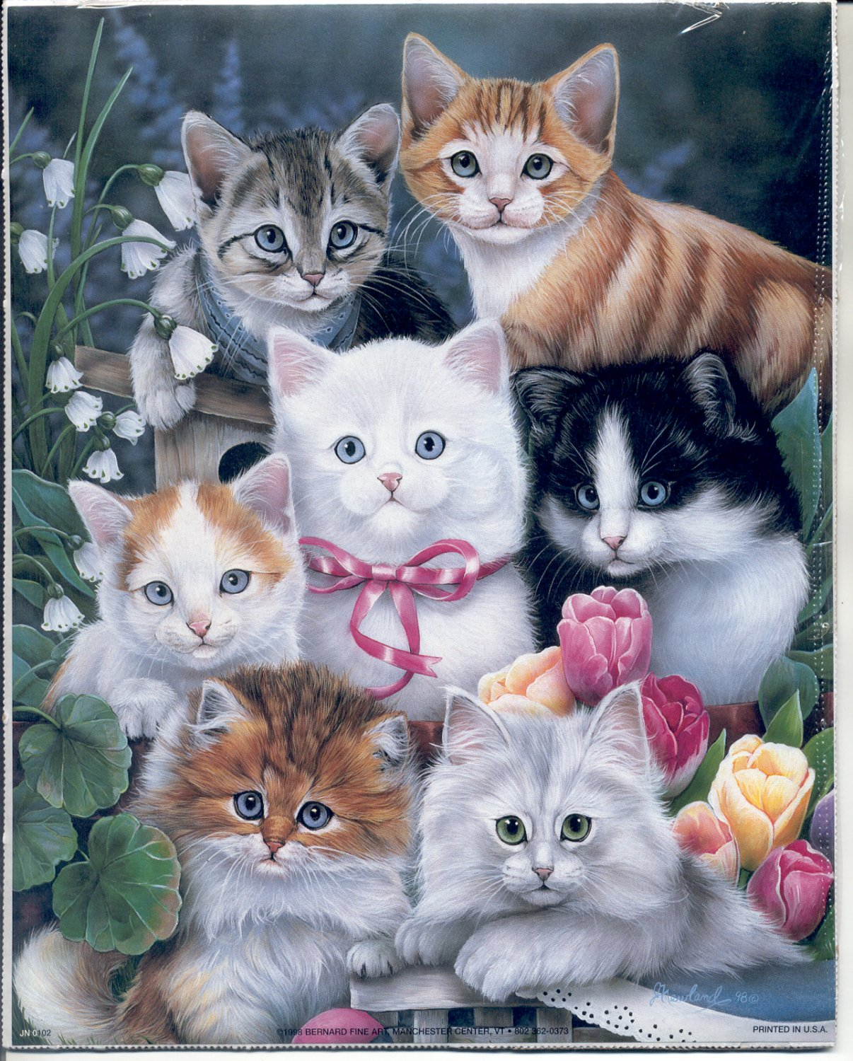 1998 PRINT #54:  A BUNCH OF KITTENS - CATS IN FLOWERS 8 X 10 MINT