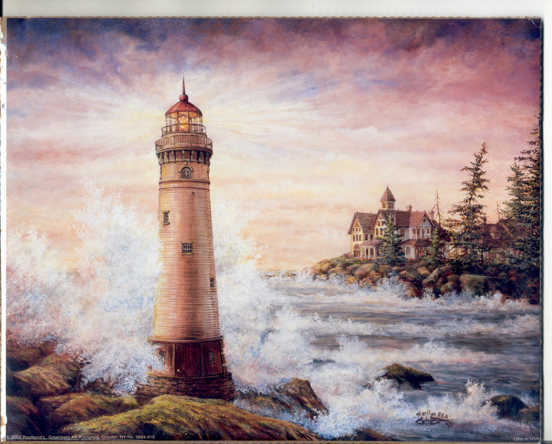 2002 PRINT #53: TALL LIGHTHOUSE ON ROCKS WITH OCEAN SPRAY 8 X 10 NEAR MINT