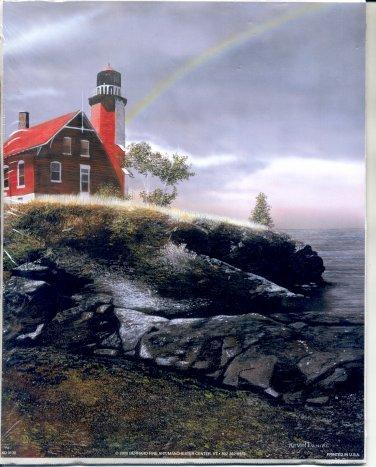 2000 PRINT #47: RED LIGHTHOUSE ON ROCKS 8 X 10 MINT