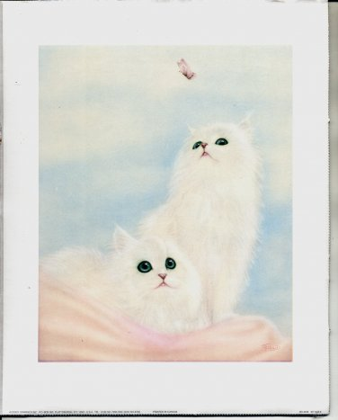 PRINT #37: TWO WHITE PERSIAN KITTENS WITH A BUTTERFLY 8 X 10 MINT