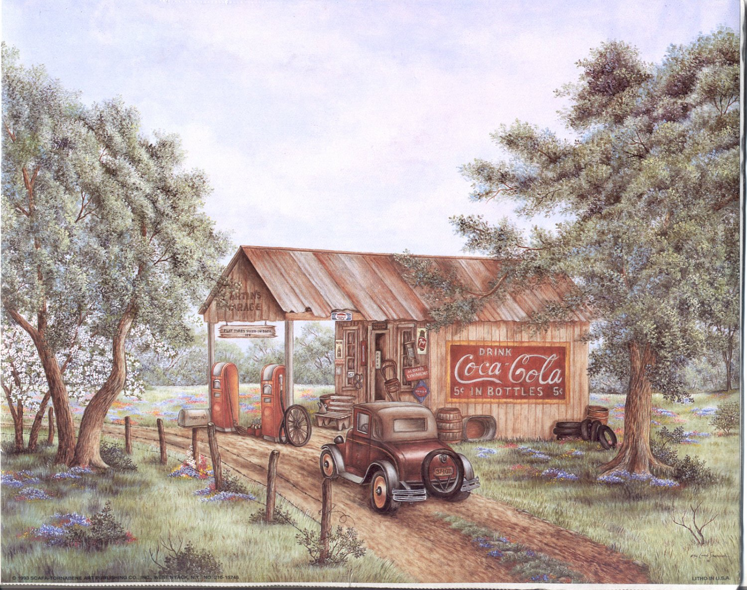 1993 PRINT #11:  COCA COLA COKE MARTIN'S GARAGE OLD CARS 8 X 10 MINT