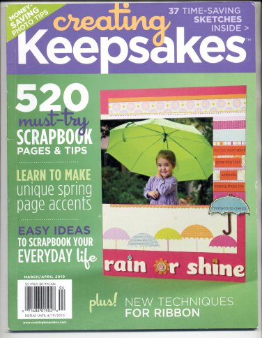 CREATING KEEPSAKES SCRAPBOOKING CRAFT MAGAZINE MARCH APRIL 2010 NEAR MINT