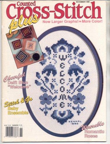 CROSS STITCH PLUS BACK ISSUE CRAFT MAGAZINE NOVEMBER 1990 NEAR MINT
