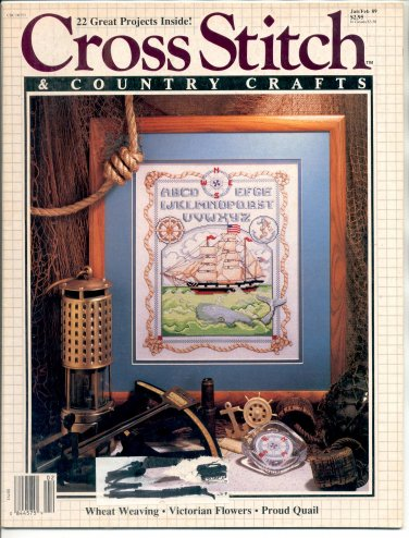 "CROSS STITCH & COUNTRY CRAFTS BACK ISSUE MAGAZINE JANUARY FEBRUARY 1989 NEAR MINT ""B"""