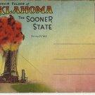 OKLAHOMA THE SOONER STATE SOUVENIR BOOKLET VINTAGE COLOR LINEN POSTCARD UNUSED 1947 NMINT # 644