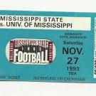 1993 MSU MISSISSIPPI STATE VS OLE MISS FOOTBALL TICKET STUB 11/27/1993 # D19