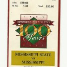 1995 MISSISSIPPI STATE VS OLE MISS FOOTBALL TICKET STUB 11/25/1995 GAME 6 # D22