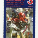 2003 OLE MISS vs ARKANSAS STATE FOOTBALL TICKET STUB GAME 3 ~ OCT 11 2003 #D35