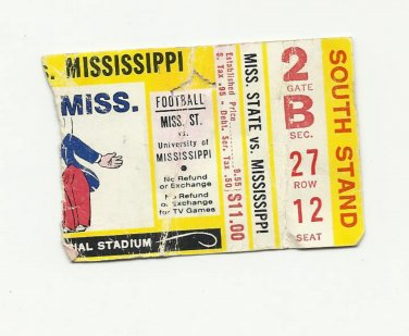 1983 ? MSU MISSISSIPPI STATE vs OLE MISS FOOTBALL TICKET STUB EGG BOWL # D 56