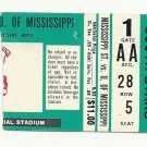 1982 MSU MISSISSIPPI STATE vs OLE MISS FOOTBALL TICKET STUB 11/20 EGG BOWL # D47