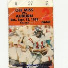 1998 OLE MISS REBELS VS AUBURN FOOTBALL TICKET STUB SEPT 12 1998 GAME 2 # D 52