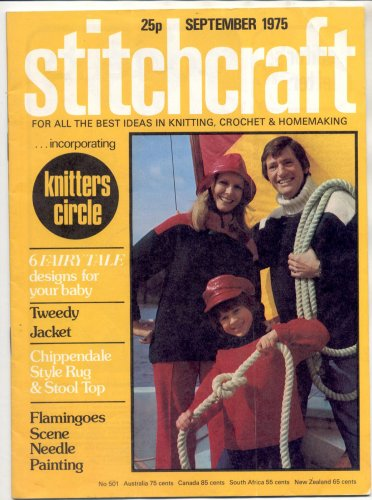 STITCHCRAFT MAGAZINE SEPTEMBER 1975 BACK ISSUE KNIT CROCHET EMBROIDERY RUGS NEAR MINT
