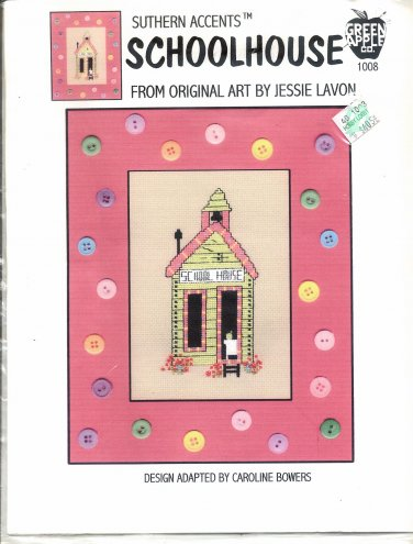 SUTHERN ACCENTS ~ SCHOOLHOUSE GREEN APPLE CO CROSS STITCH CRAFT LEAFLET 2002 NOS DISC MINT