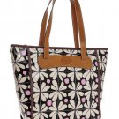 FOSSIL KEY PER COATED CANVAS LEATHER ZIP TOP SHOPPER TOTE BLACK MULTI Zb5896016