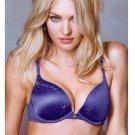 NWT Victoria's Secret 32DD Bra Very Sexy Gel Push up Navy Sateen Embellished $65