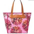 Fossil Keyper Print Coated Canvas Shopper Tote Pink Multi Handbag Bag Zip Top Nw