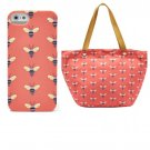 NWT FOSSIL KEY-PER East West Tote Coral Bumble Bee Print ZB5758 Free Iphone Case