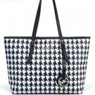 NWT MICHAEL KORS JET SET SAFFIANO LEATHER Houndstooth TRAVEL TOTE BLK White $298