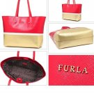 Furla Melissa Leather Tote Shoulder Bag Red White Gold 739646 Dust Bag  Fiamma