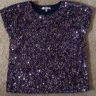 Jennifer Lopez Purple Sequins Velour Dolman Top XS S Shirt Blouse $85 N Evening