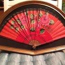 Customized Antique Framed Folded Fan Rose Green Leaves Japan 1940s Beautiful