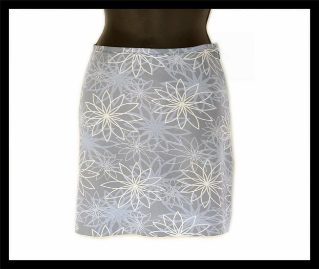 ESPRIT gray RETRO MOD silver floral flowers SKIRT miniskirt 5/6 S small thin