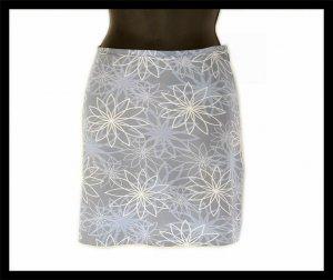 ESPRIT gray RETRO MOD silver floral flowers SKIRT miniskirt 5/6 S small thin