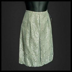 ANN TAYLOR sage silver LACE BUBBLE SKIRT 6 S smsll NEW NWT