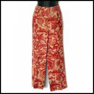 COMPANY ELLEN TRACY red tan LINEN PANTS Medium 8 P petite 8P
