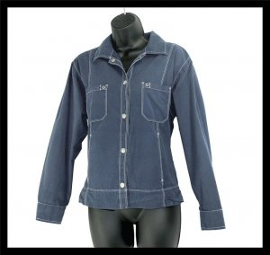 FRESH PRODUCE dark BLUE lightweight cotton JACKET M MEDIUM