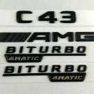 C43 AMG BITURBO 4MATIC Matt Black Number Letters Emblem Sticker Emblem Logo