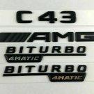 C43 AMG BITURBO 4MATIC Matt Black Number Letters Emblem Sticker Emblem Logo