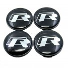65mm R Line Black Silver Hubcap Center Cap Wheel Cover