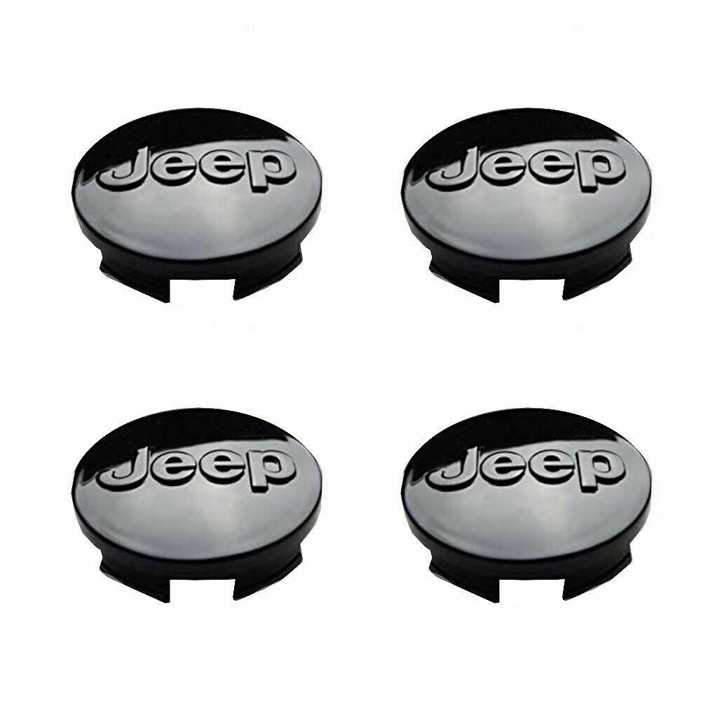64mm JEEP Black Hubcap Wheel Cover Center Cap Set