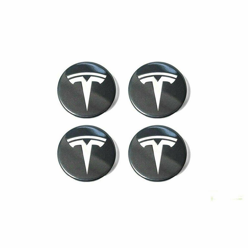 58mm TESLA Black Silver Hubcap Center Cap Cover Wheel Set