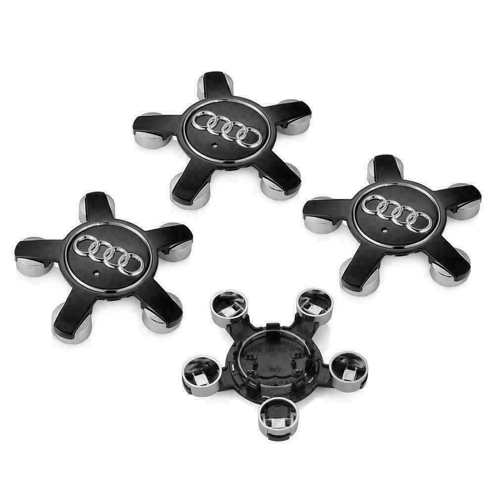 135 mm Audi Black Silver Hubcap Cover Cap Wheel Center Cover Set