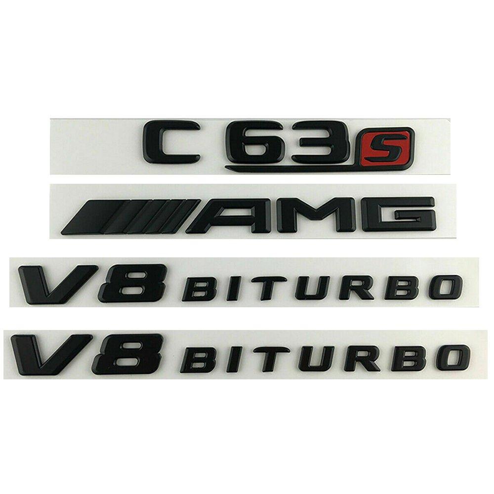C63S AMG V8 BITURBO Black Sticker Logo 3D Emblem Sign Trunk Side