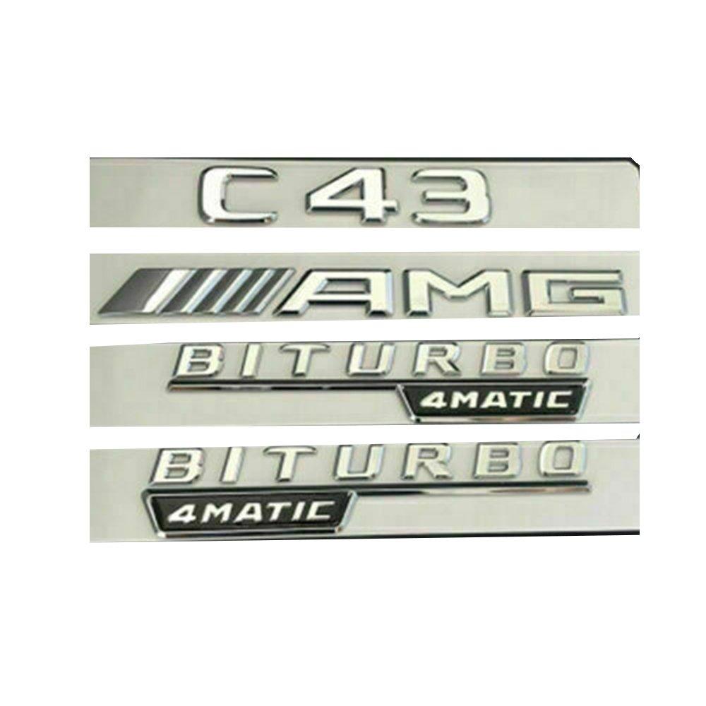 C43 AMG BITURBO 4MATIC Silver Sticker Logo 3D Emblem Exterior Design Sign Trunk Side