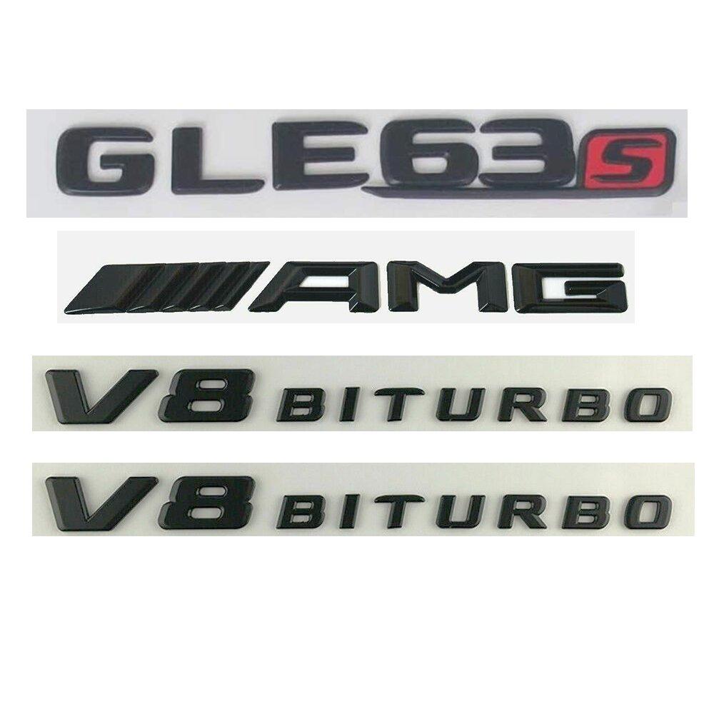 GLE 63 S AMG V8 Biturbo Black Sticker Logo 3D Emblem Exterior Design Sign Trunk Side
