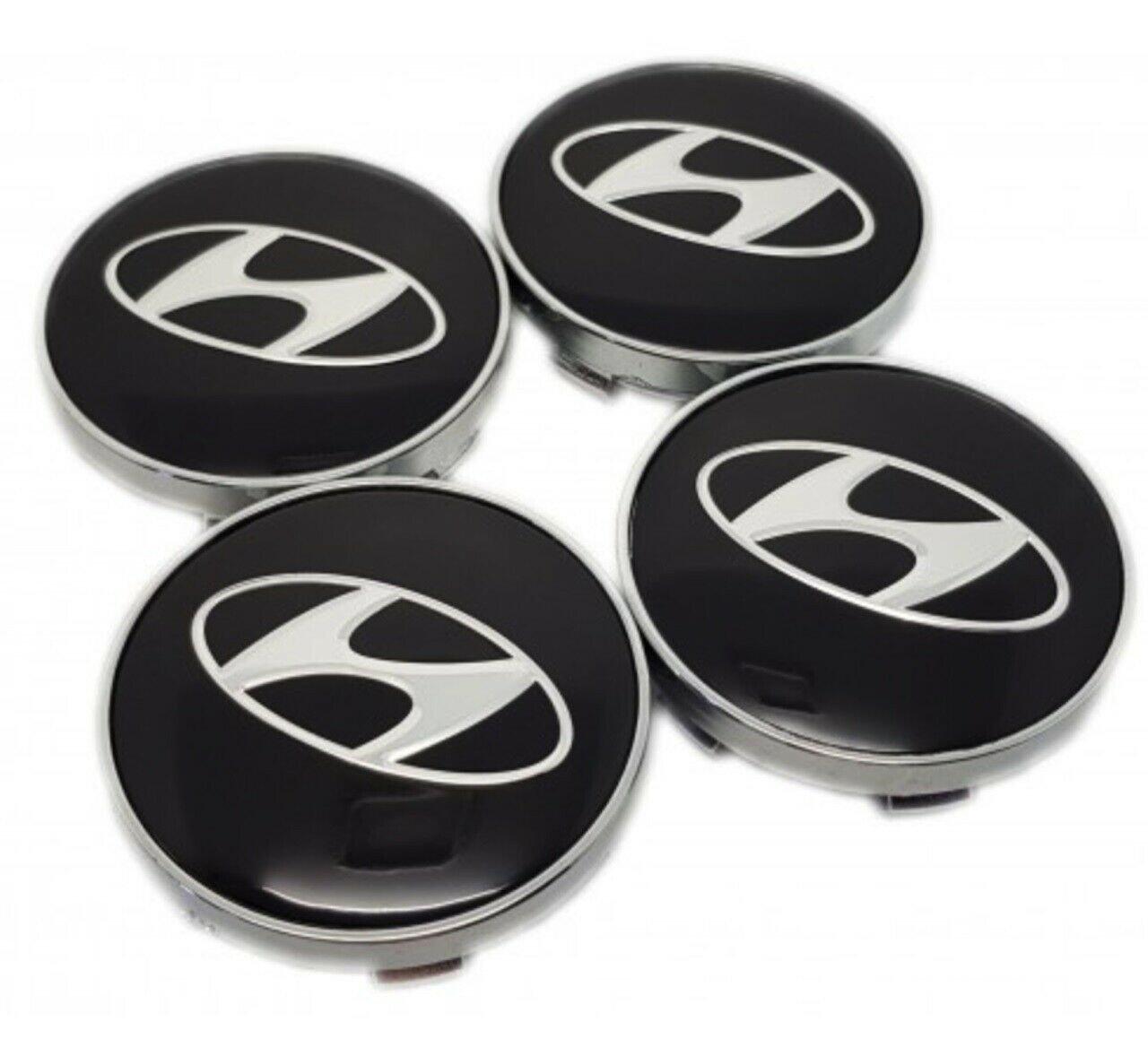 60mm Hyundai Black Silver Hubcap Cover Wheel Center Cap Set