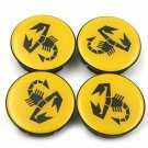 50mm Fiat Abarth Yellow Hubcap Cover Wheel Center Cap