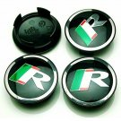 59mm Jaguar Black Green Hubcap Cover Wheel Center Cap Set
