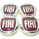 60mm Fiat Silver Red Hubcap Center Wheel Cover Cap Set