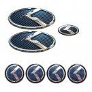 KIA Set of 7pcs Front Rear Back Steering Wheel Hubcap Emblem Logo