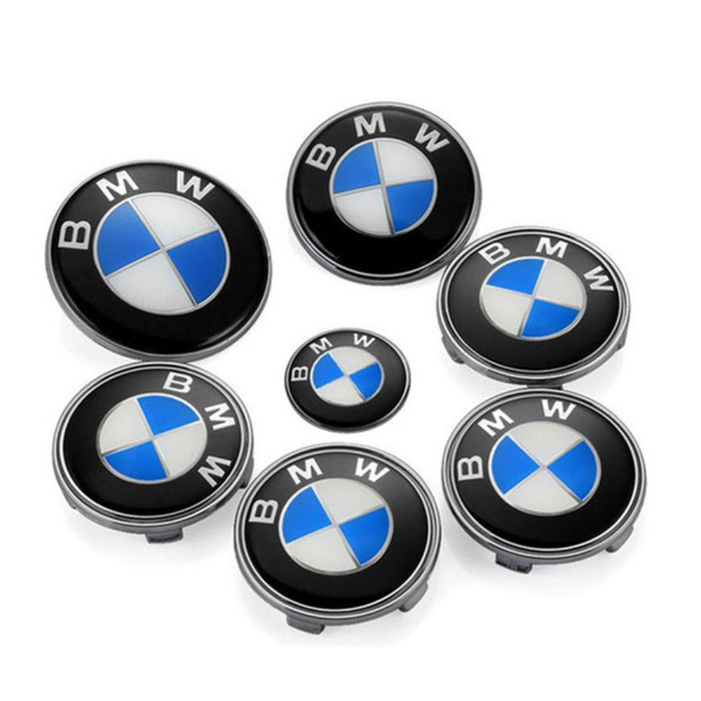 BMW Blue Black White Set of 7pcs Front Rear Back Steering Wheel Hubcap Emblem Logo