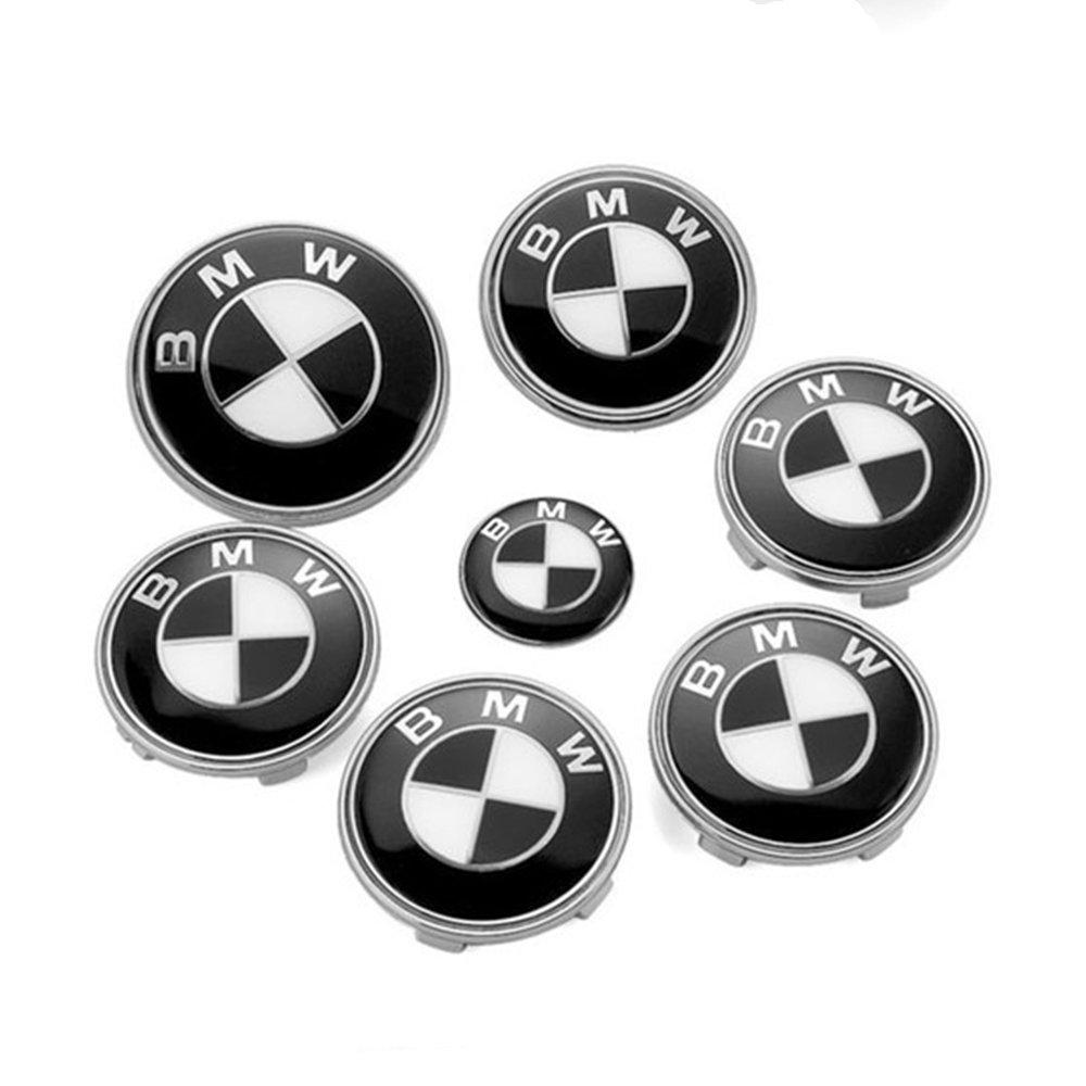 BMW Black White Set of 7pcs Front Rear Back Steering Wheel Hubcap Emblem Logo