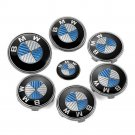 BMW Blue Carbon Set of 7pcs Front Rear Back Steering Wheel Hubcap Emblem Logo