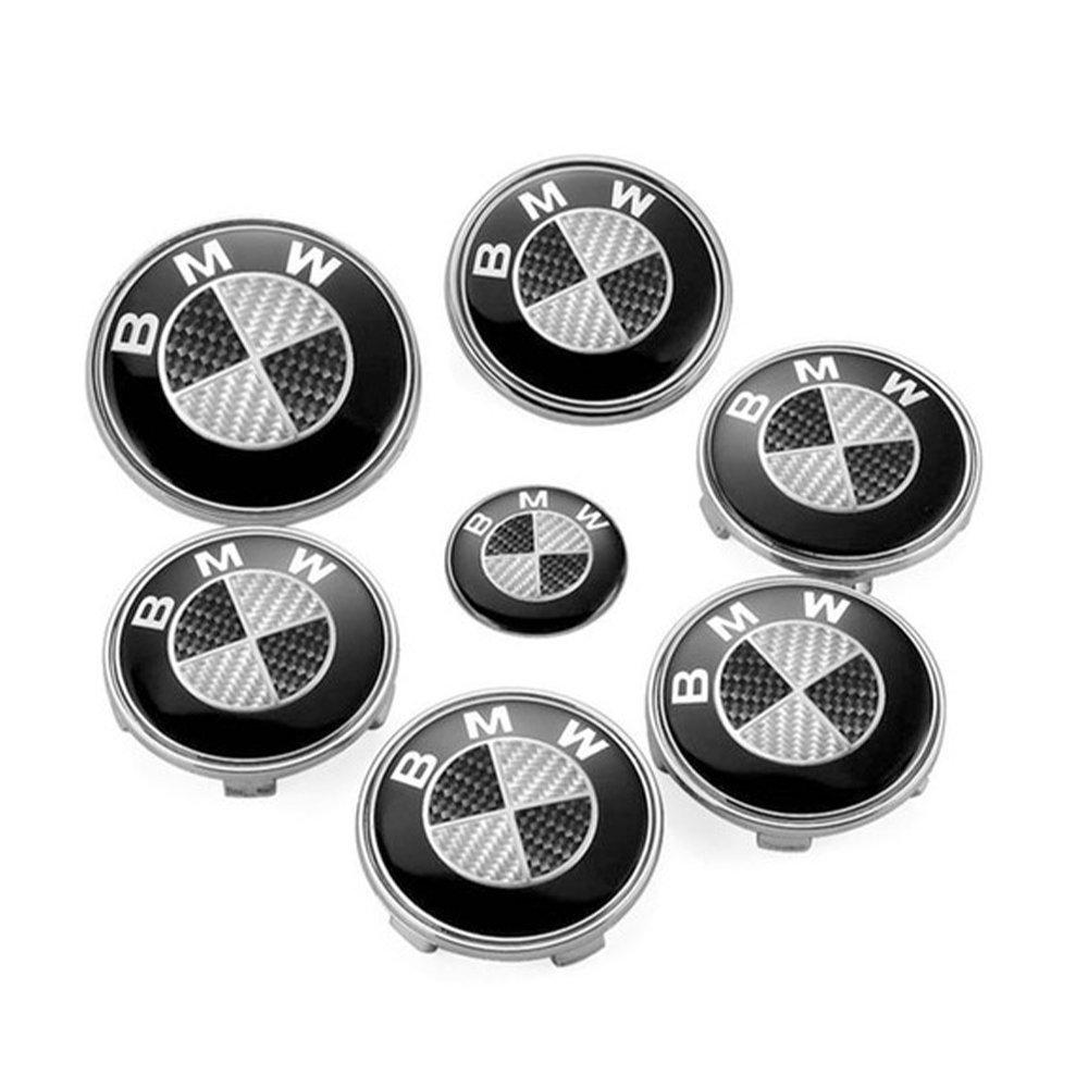 BMW Black White Carbon Set of 7pcs Front Rear Back Steering Wheel Hubcap Emblem Logo