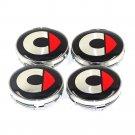 60mm Smart Black Red Hubcap Wheel Cover Center Cap Set