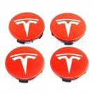 58mm Tesla Red Silver Hubcap Wheel Cover Center Cap Set